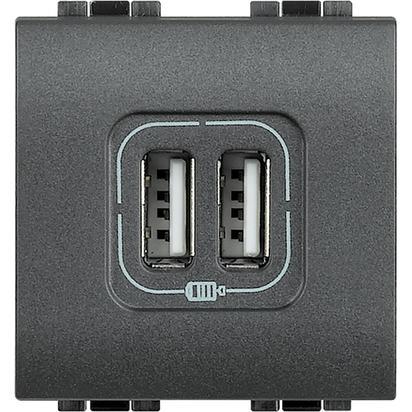 LL - CARICATORE USB 2 PRESE 2400MA 5V ANTRACITE - BTI L4285C2