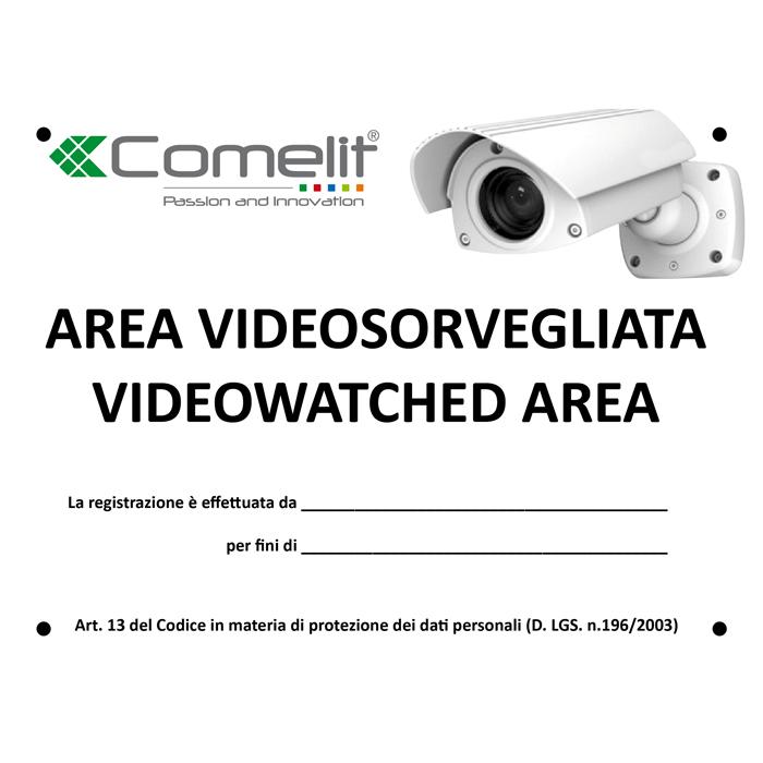 CARTELLO AREA VIDEOSORVEGLIATA ITALIANO - COMELIT 43500