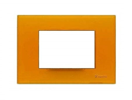 PLACCA 3 POSTI ARANCIO GEL SERIE LIGHT - BTICINO LEGRAND N4803AJ