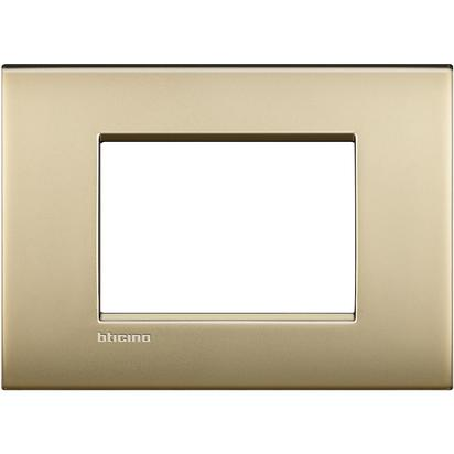 PLACCA AIR 3 MODULI - ORO SATINATO - BTICINO LEGRAND LNC4803OF