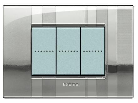 PLACCA 3 MODULI STRIPES - GRIGIO - BTICINO LEGRAND LNC4803SP