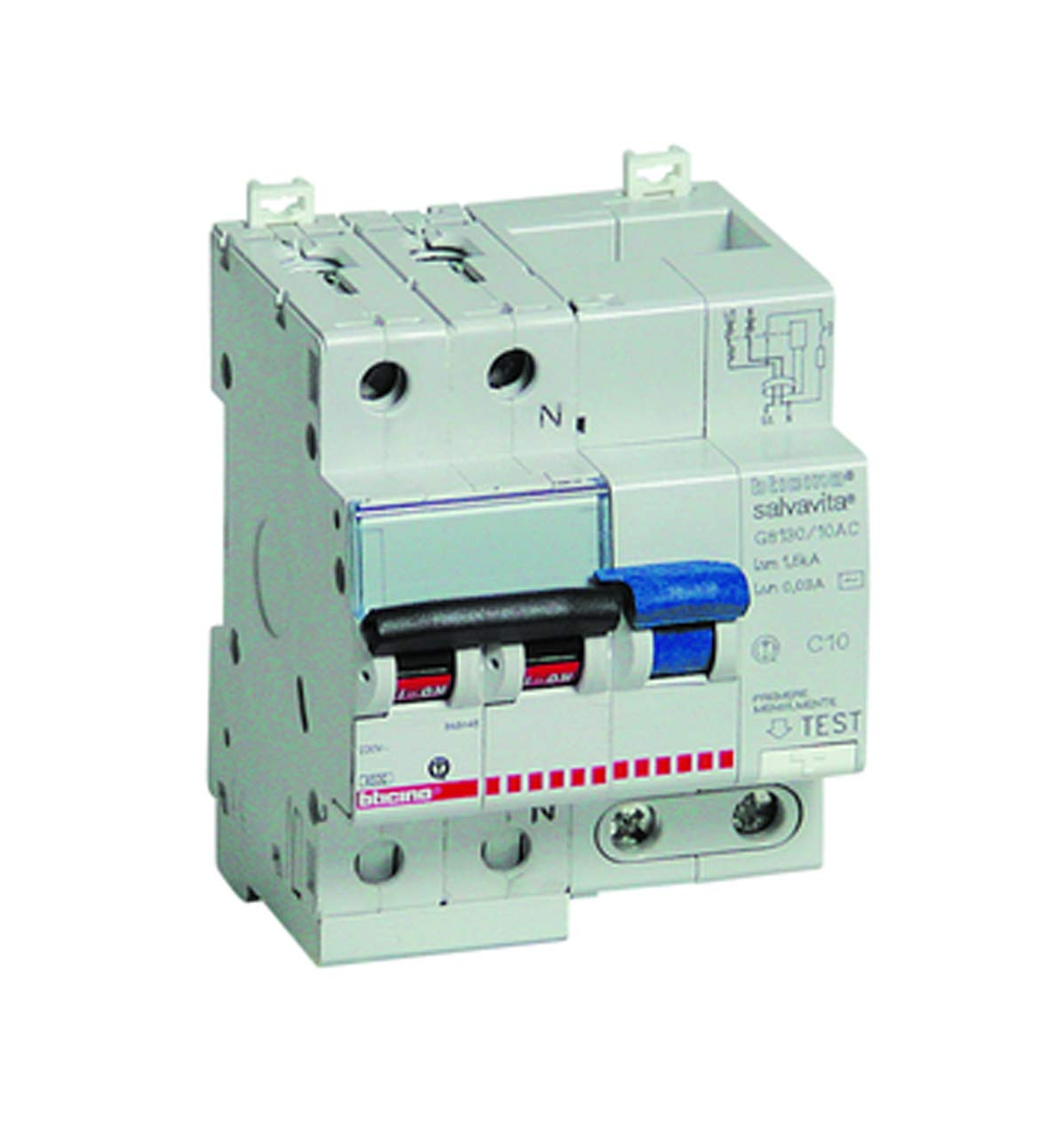 Interruttore magnetotermico differenziale 1P+N, Tipo C, 25A - BTICINO LEGRAND G8130/25AC
