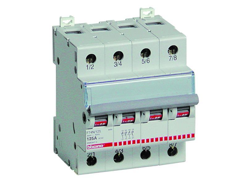 interruttore sezionatore - in 63a 4p 4 moduli btdin - BTICINO LEGRAND F74N/16N