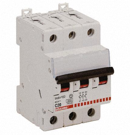 Interruttore magnetotermico bticino f83/20 tripolare 20a 6ka - BTICINO LEGRAND F83/20