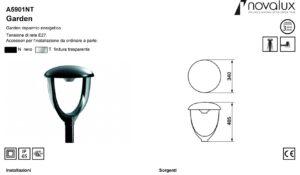 LAMPADA GARDEN risparmio energetico 100W E27 nero/trasparent - NOVALUX SRL A5901NT