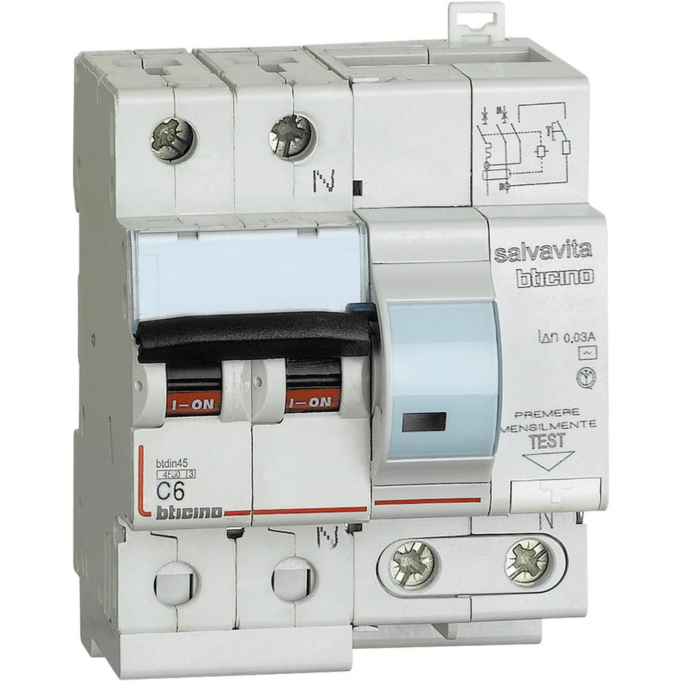 interruttore magnetotermico differenziale AC 1P+N 6A 30MA BT - BTICINO LEGRAND G8130/6AC