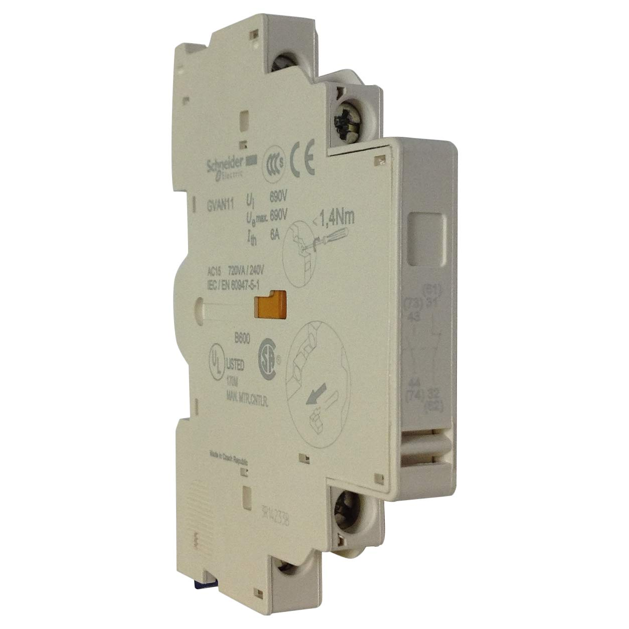 Schneider AUX CONTACT BLOCK 1NO+1NC SIDE MOUNT GVAN11 - SCHNEIDER ELECTRIC GVAN11