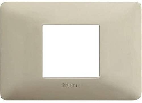 BTICINO - MATIX Placca 2 Moduli Centrati, Cenere - BTICINO LEGRAND AM4819BCN