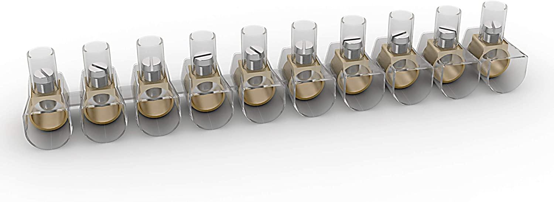 Etelec - Confezione Lotto 100 Pezzi Morsetti Stecche Morsetto Trasparente Isolante Serraggio Vite Per Cavi Elettrici fino a 35 mm (TBOX100-10 mm²) - ETELEC ITALIA TBOX100