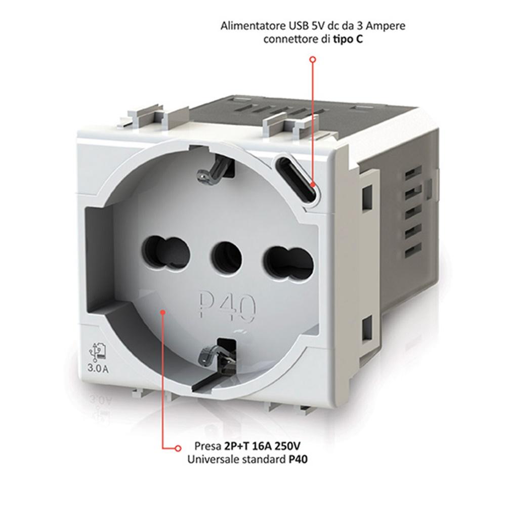 Presa Bipasso e Schuko 4Box P40 con USB 3.0A compatibile con Bticino Livinglight - 4 BOX SRL 4B.N.P40.USB