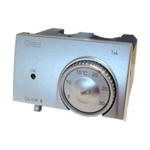 Termostato elettronico da incasso adattabile alla scatola incasso 3 moduli (tipo 503) Alluminio - ORBIS OB322620