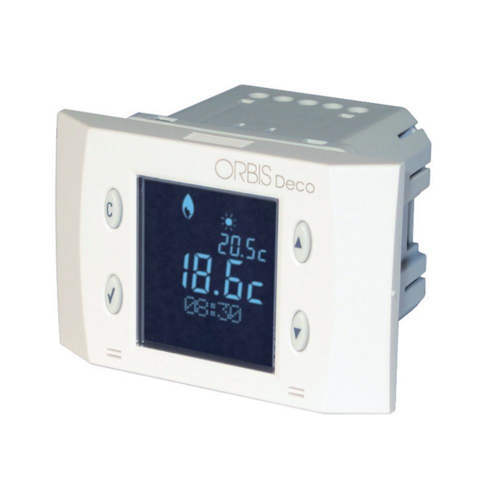 Termostato digitale da incasso con Display a retroilluminazione negativa e alimentazione da rete. - ORBIS OB350420