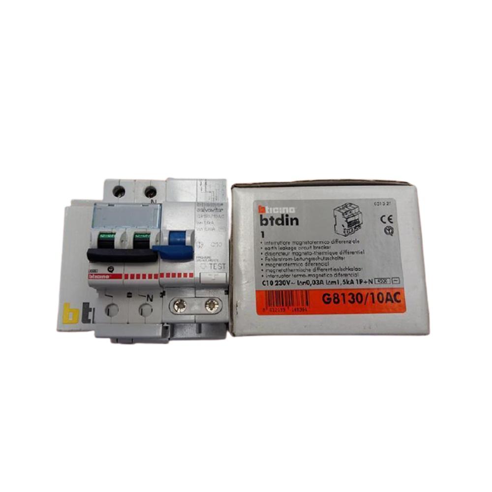 Interruttore magnetotermico differenziale AC 1P+N 10A 30MA 4,5KA - BTICINO LEGRAND G8130/10AC