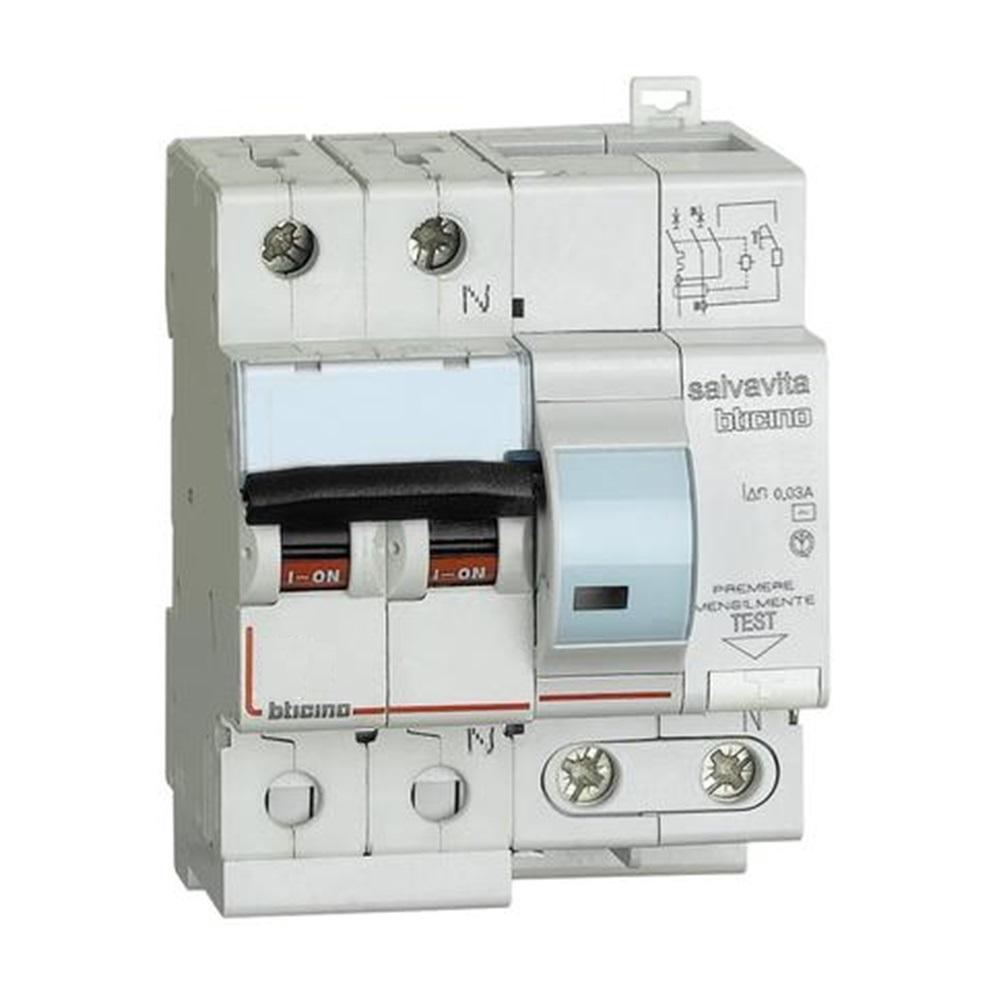 Interruttore magnetotermico differenziale per uso civile AC 1P+N 16A 4,5KA 30MA - BTICINO LEGRAND G8130/16AC