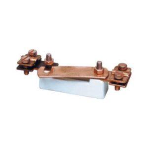 Sezionatore per terre con basetta in plastica e bulloni inox ramati 30 x 120 x 40 mm. - SEM 0301