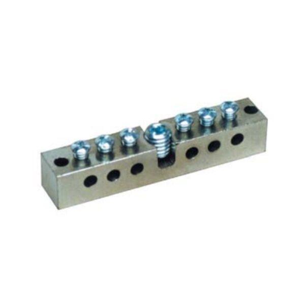 Morsettiera per collegamenti equipotenziale in ottone nichelato sezione 12 x 12 mm - SEM 0307