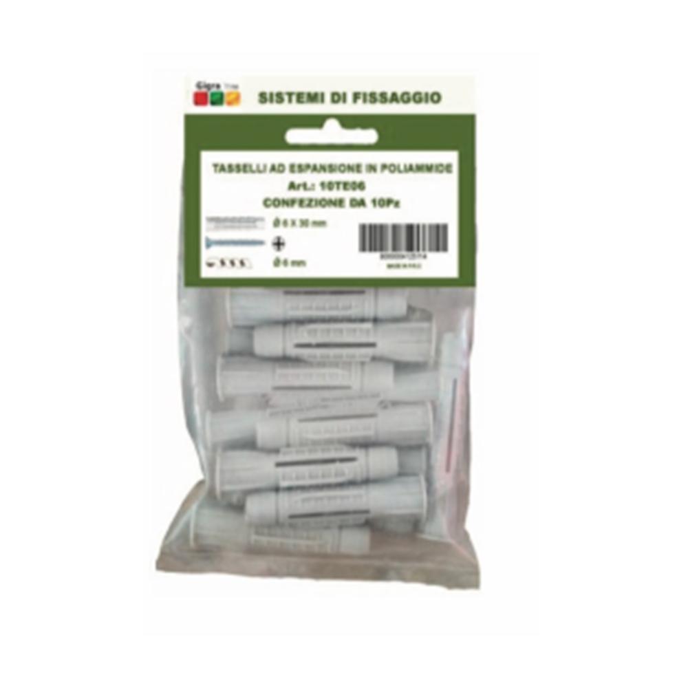 10 pezzi tasselli in poliammide da 6mm con vite - GIGRA LINE 10TE06