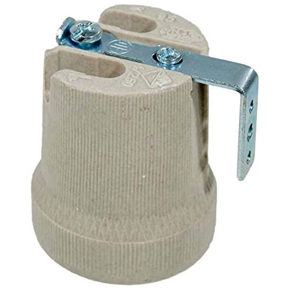 Portalampada E27 in ceramica con staffa di fissaggio - GIGRA LINE PCE27/BI