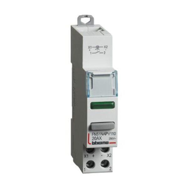 Pulsante 1NO con led verde 20A 110/400V 1 modulo DIN - BTICINO LEGRAND FN51NAPV110