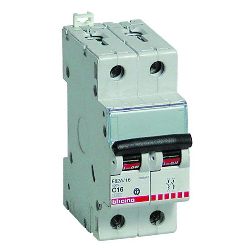Interruttore Magnetotermico 2 poli 10A 4,5KA - BTICINO LEGRAND F82A/10