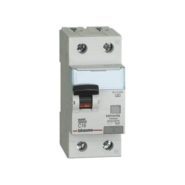 Interruttore Magnetotermico Differenziale Salvavita 1 Polo+N 16A 4,5KA 30MA - BTICINO LEGRAND G8813A/16A