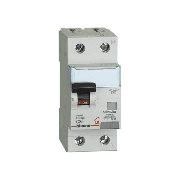 Interruttore Magnetotermico Differenziale 1Polo +N - 4,5kA - BTICINO LEGRAND G8813A/25AC
