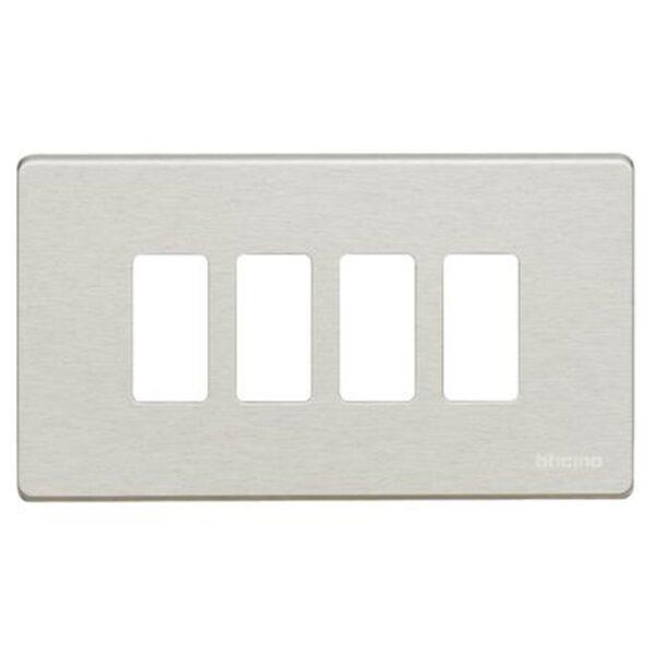 Placca 4 Posti Magic Alluminio - BTICINO LEGRAND 504/4/AL