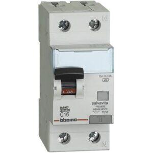 interruttore magnetotermico differenziale SALVAVITA 1P+N - BTICINO LEGRAND GN8813A16