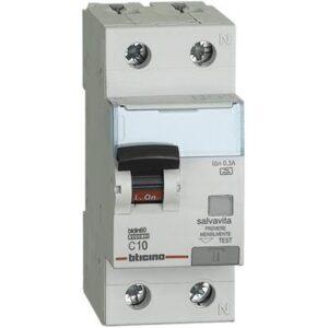 nterruttore magnetotermico differenziale SALVAVITA 1P+N - tipo A - BTICINO LEGRAND G8814/10A