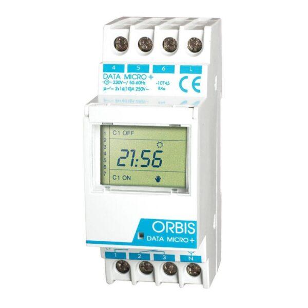 Interruttore orario modulare giornaliero settimanale 2 moduli DIN - ORBIS OB171912N