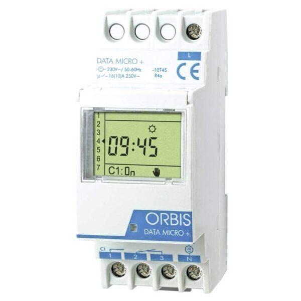 Interruttore orario digitale 1 relè temporizzatore MICRO + - ORBIS OB172012N