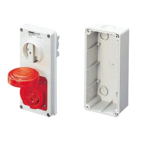 Presa industriale 16A, 3+E poli con interruttore IP55 400V - GEW GW66308