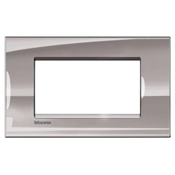 Placca Quadra 4 Moduli LivingLight Nichel - BTICINO LEGRAND LNA4804NS