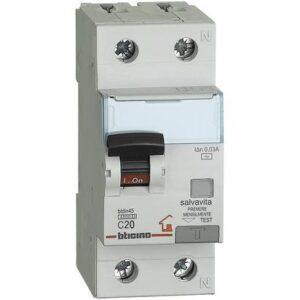 INTERRUTTORE MAGNETOTERMICO DIFFERENZIALE 1P+N 30MA 20A 4500 - BTICINO LEGRAND GC8813AC20