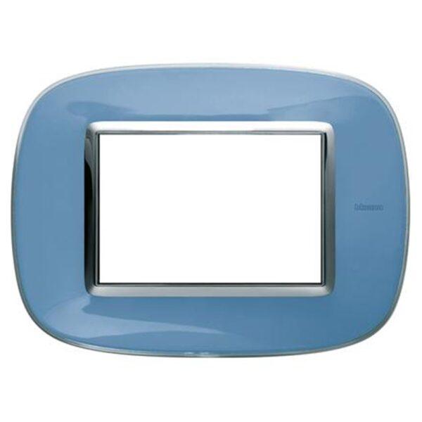 Placca Ellittica 3 Moduli Axolute Azzurro Liquido - BTICINO LEGRAND HB4803DZ
