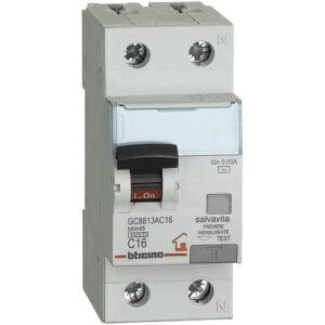 Interruttore magnetotermico 1P +N 16A 2 Moduli - BTICINO LEGRAND GC8813AC16