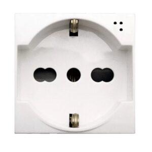 Presa Schuko Bipasso con trattamento antibatterico 10/16A 2 Moduli Domus S44 Bianco - AVE SPA 441090/15TS