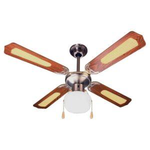 Ventilatore Decorativo da Soffitto con Luce e Cordicelle 107 cm Marrone - ZEPHIR ZFS9107M